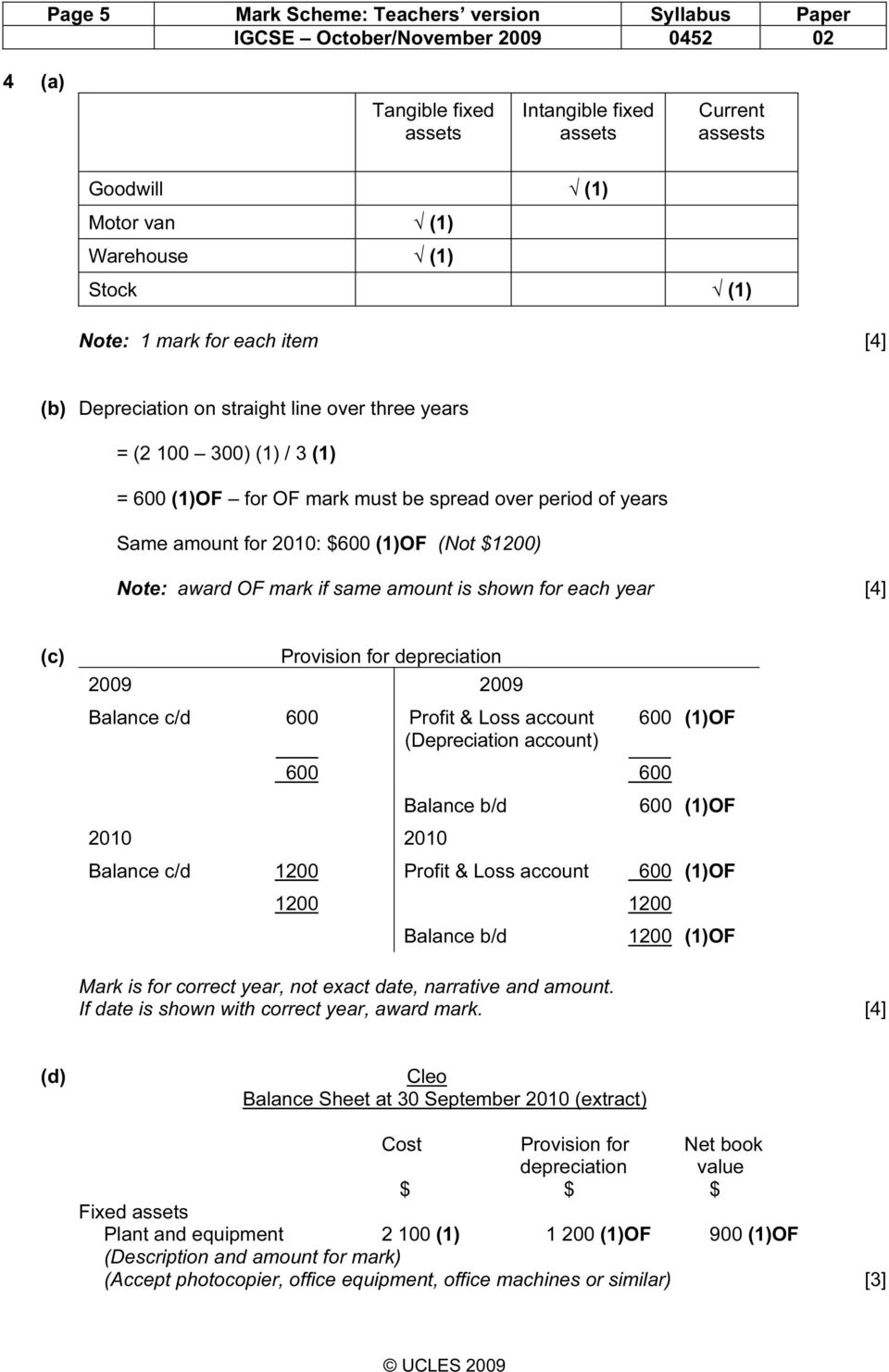 mark if same amount is shown for each year [4] (c) Provision for depreciation 2009 2009 Balance c/d 600 Profit & Loss account (Depreciation account) 2010 2010 600 600 Balance b/d 600 (1)OF 600 (1)OF