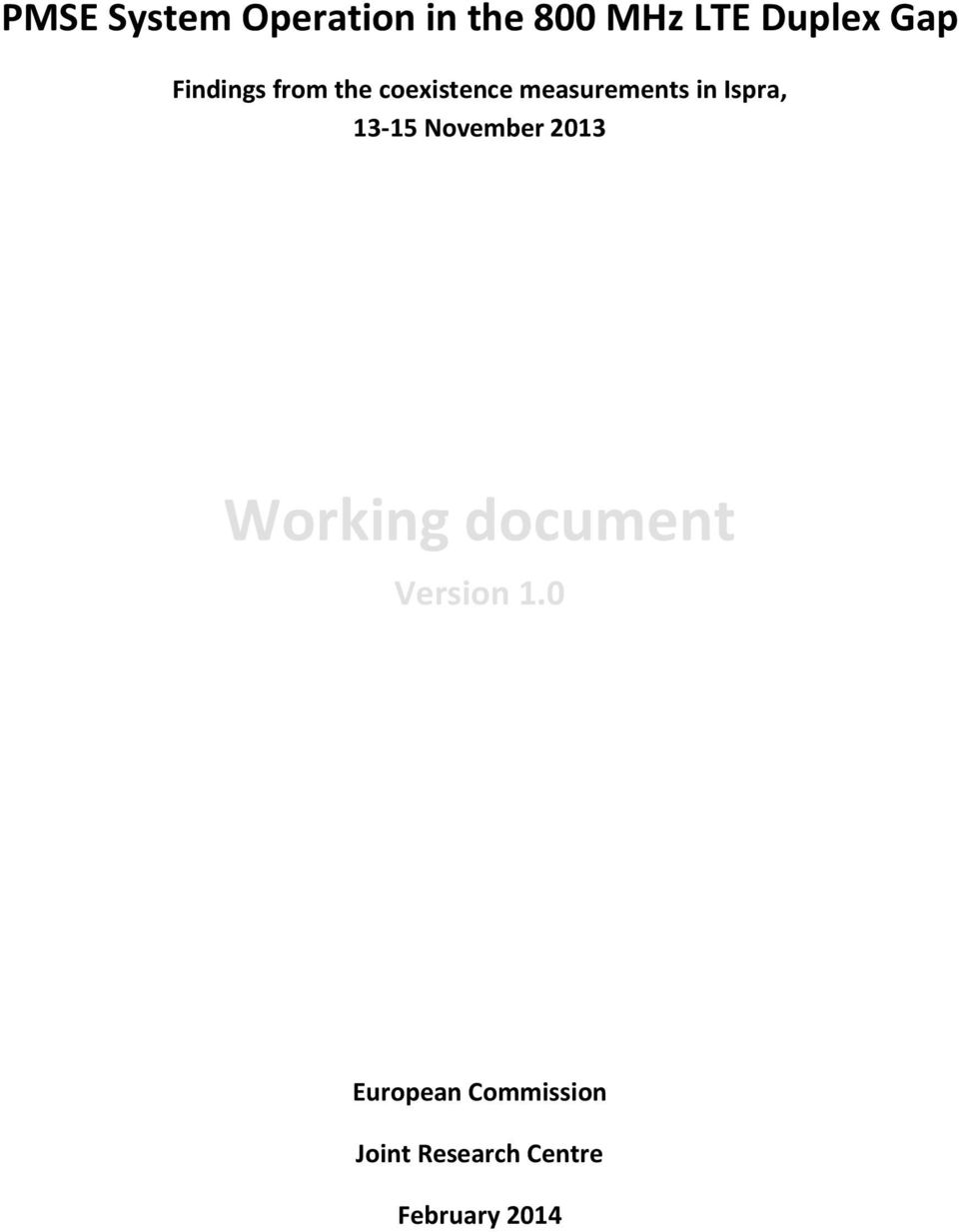 13-15 November 2013 Working document Version 1.