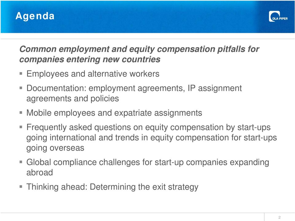 Frequently asked questions on equity compensation by start-ups going international and trends in equity compensation for