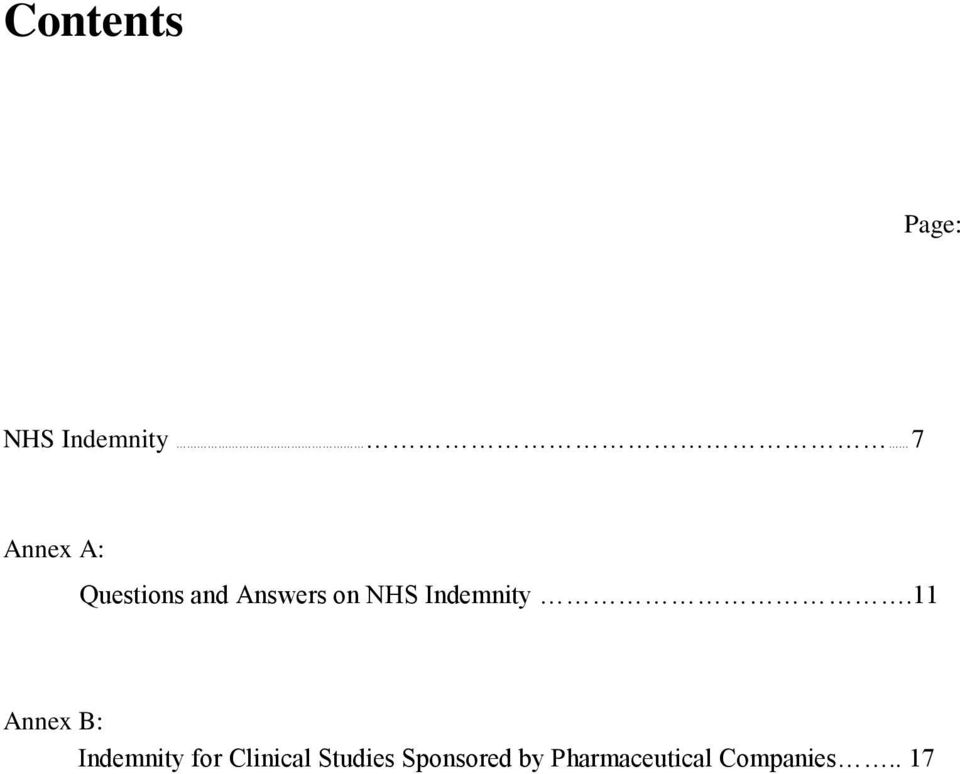 11 Annex B: Indemnity for Clinical