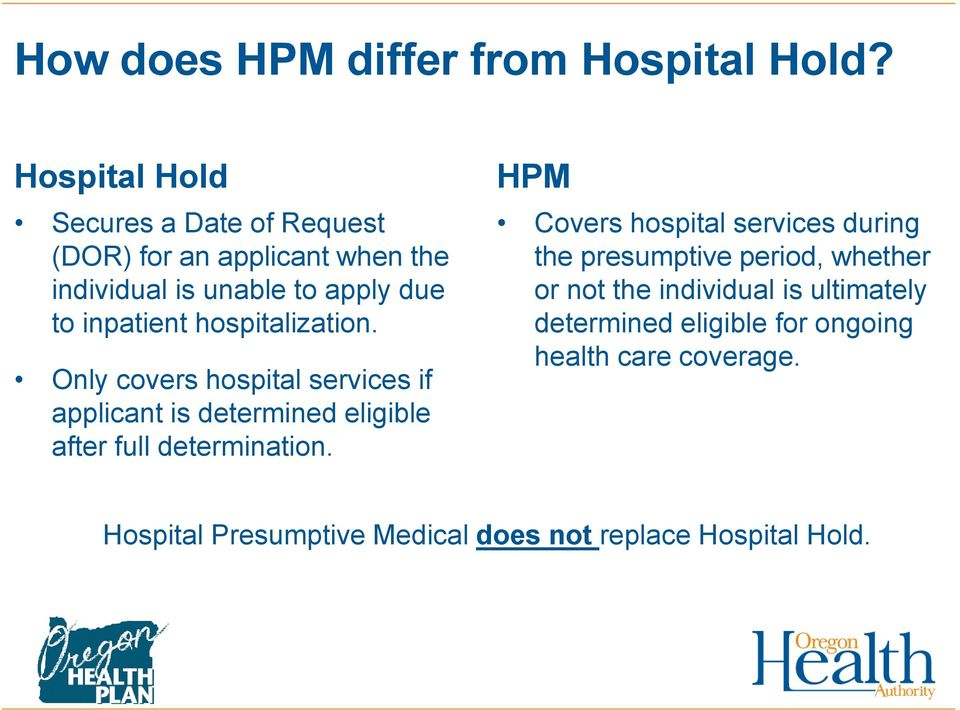 hospitalization. Only covers hospital services if applicant is determined eligible after full determination.