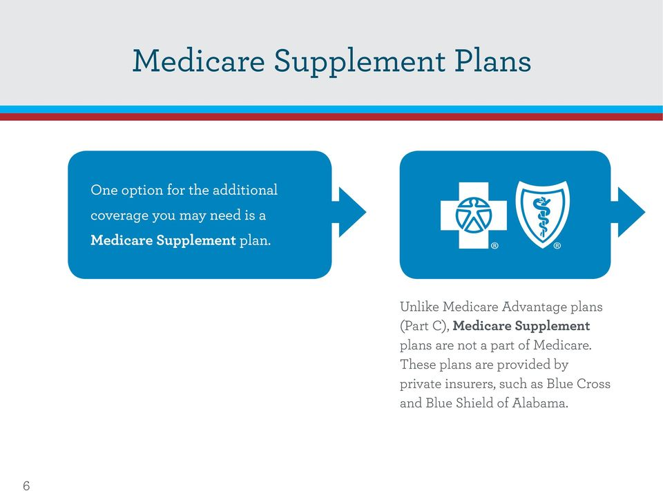 Unlike Medicare Advantage plans (Part C), Medicare Supplement plans are