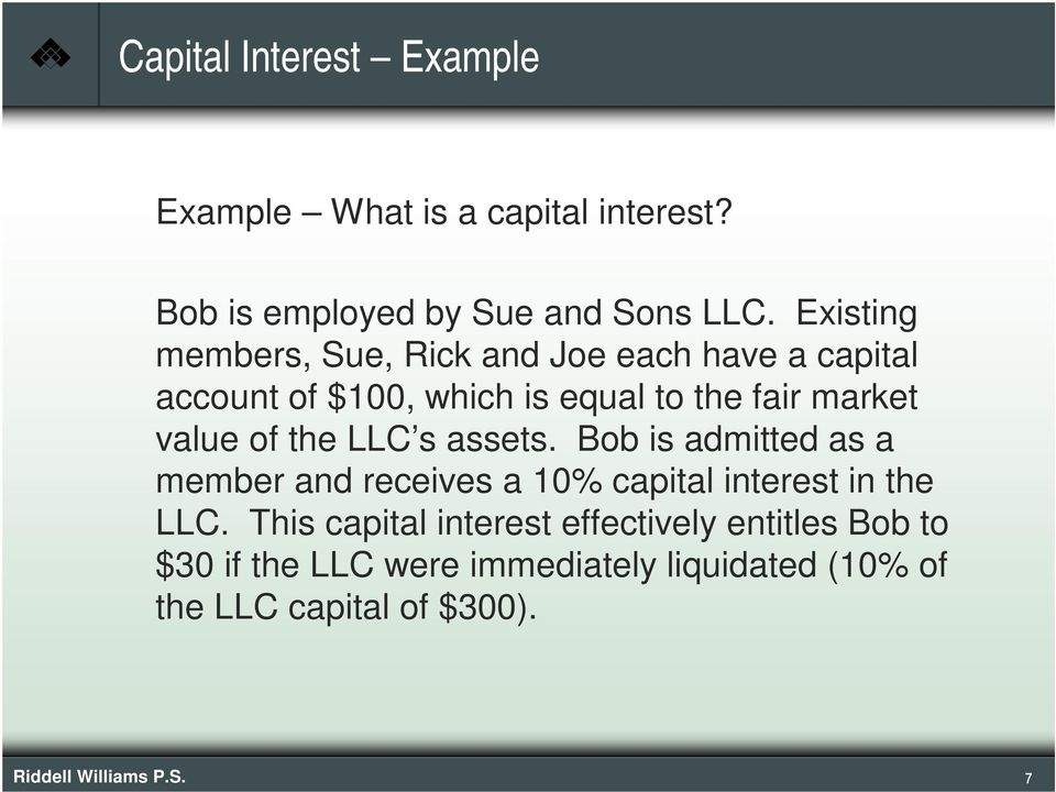 of the LLC s assets. Bob is admitted as a member and receives a 10% capital interest in the LLC.