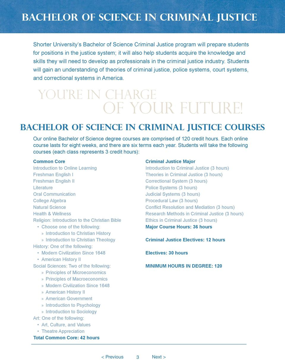 Students will gain an understanding of theories of criminal justice, police systems, court systems, and correctional systems in America. You re in charge of your future!