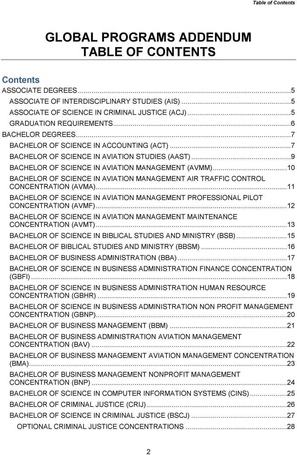 ..10 BACHELOR OF SCIENCE IN AVIATION MANAGEMENT AIR TRAFFIC CONTROL CONCENTRATION (AVMA)...11 BACHELOR OF SCIENCE IN AVIATION MANAGEMENT PROFESSIONAL PILOT CONCENTRATION (AVMF).