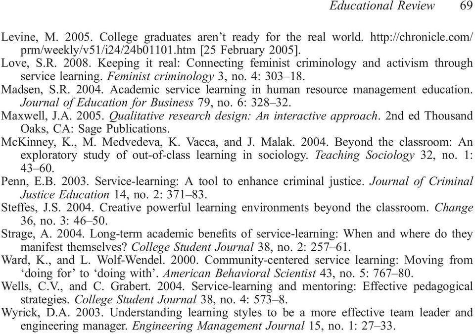 Academic service learning in human resource management education. Journal of Education for Business 79, no. 6: 328 32. Maxwell, J.A. 2005. Qualitative research design: An interactive approach.