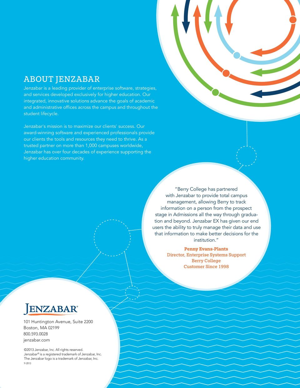 Jenzabar's mission is to maximize our clients' success. Our award-winning software and experienced professionals provide our clients the tools and resources they need to thrive.