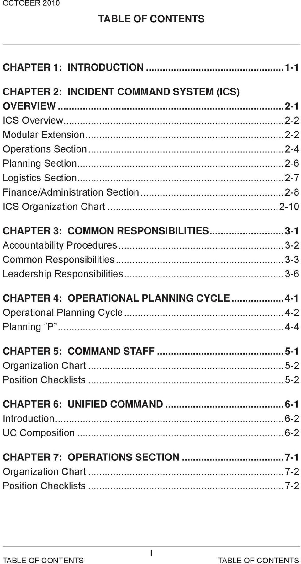 ..3-3 Leadership Responsibilities...3-6 CHAPTER 4: OPERATIONAL PLANNING CYCLE...4-1 Operational Planning Cycle...4-2 Planning P...4-4 CHAPTER 5: COMMAND STAFF...5-1 Organization Chart.