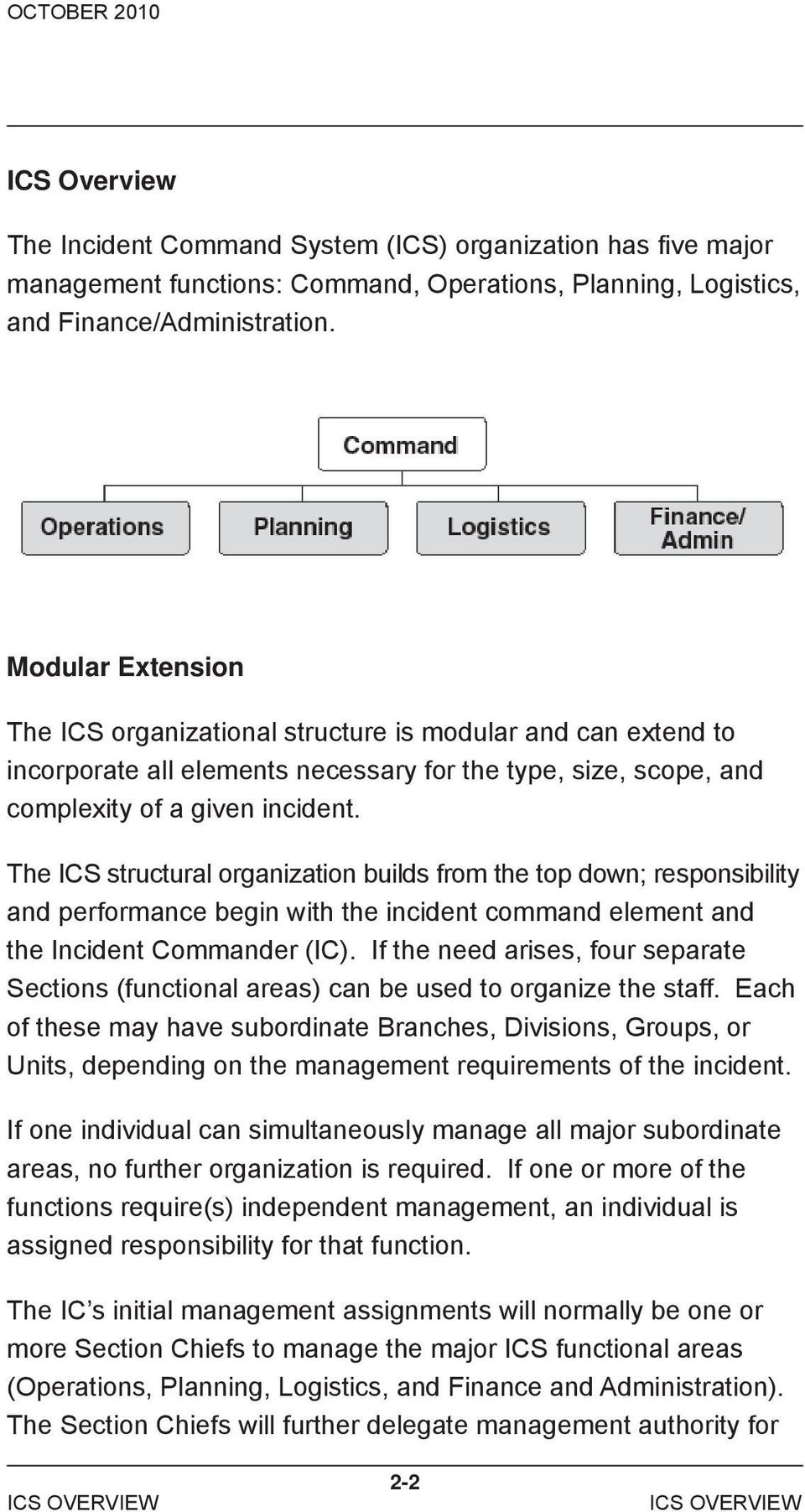 The ICS structural organization builds from the top down; responsibility and performance begin with the incident command element and the Incident Commander (IC).