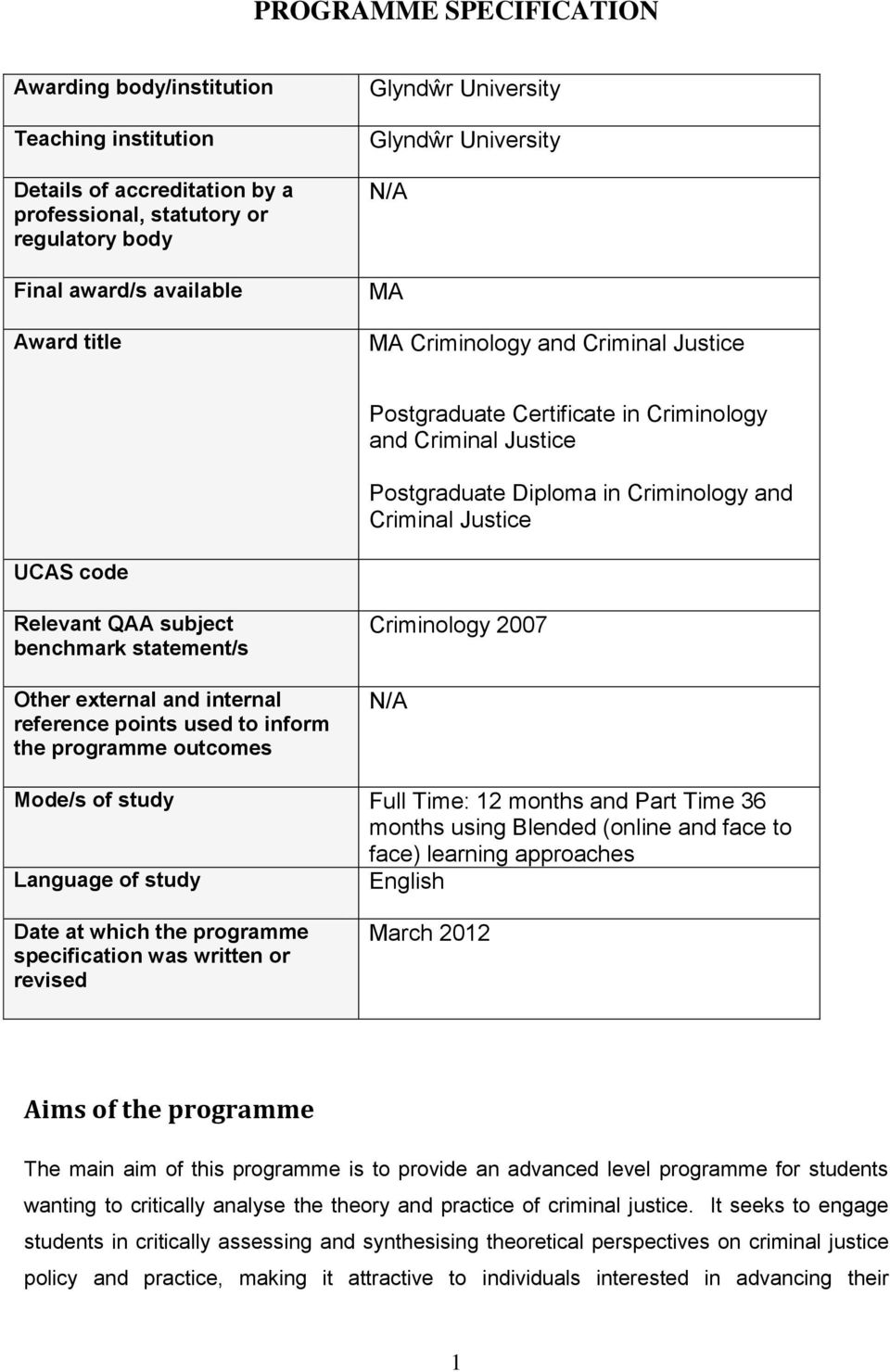 QAA subject benchmark statement/s Other external and internal reference points used to inform the programme outcomes Criminology 2007 N/A Mode/s of study Full Time: 12 months and Part Time 36 months