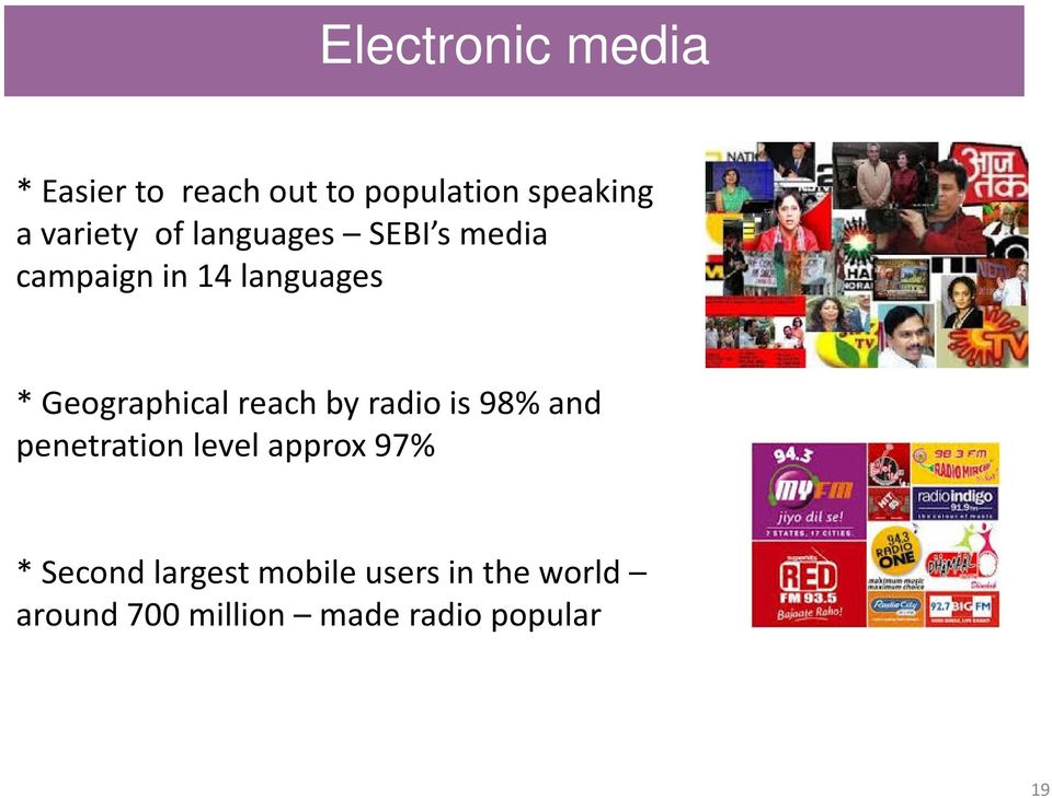 Geographical reach by radio is 98% and penetration level approx 97%