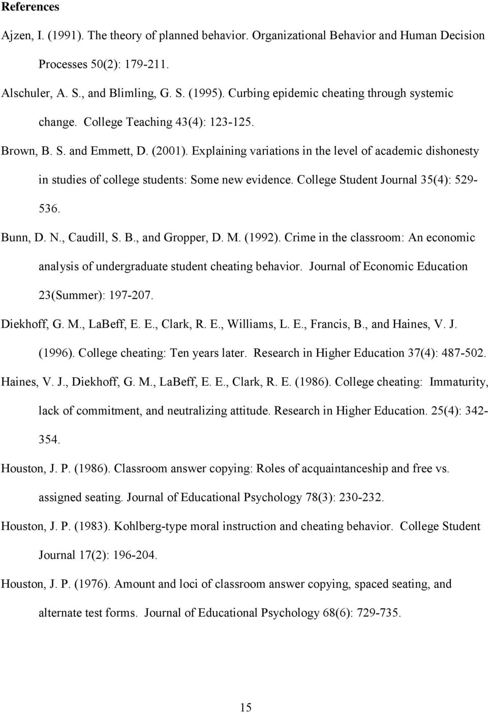 Explaining variations in the level of academic dishonesty in studies of college students: Some new evidence. College Student Journal 35(4): 529-536. Bunn, D. N., Caudill, S. B., and Gropper, D. M.