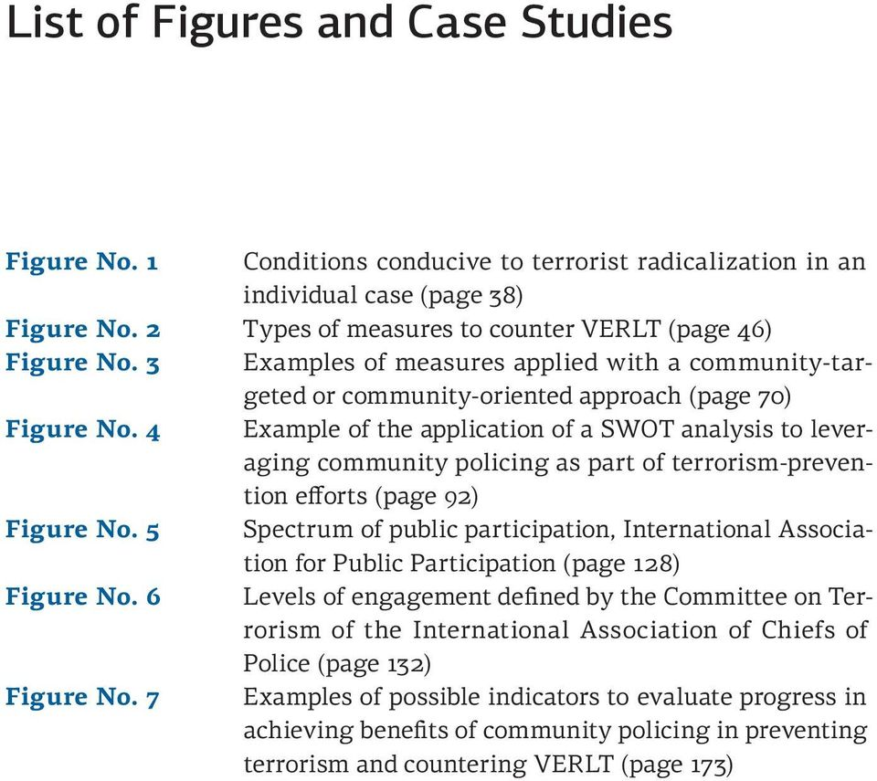 4 Example of the application of a SWOT analysis to leveraging community policing as part of terrorism-prevention efforts (page 92) Figure No.