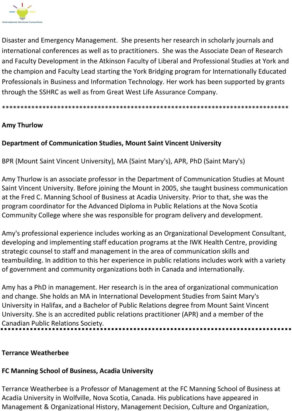 FACULTY BIOS  School of Business Administration and Faculty