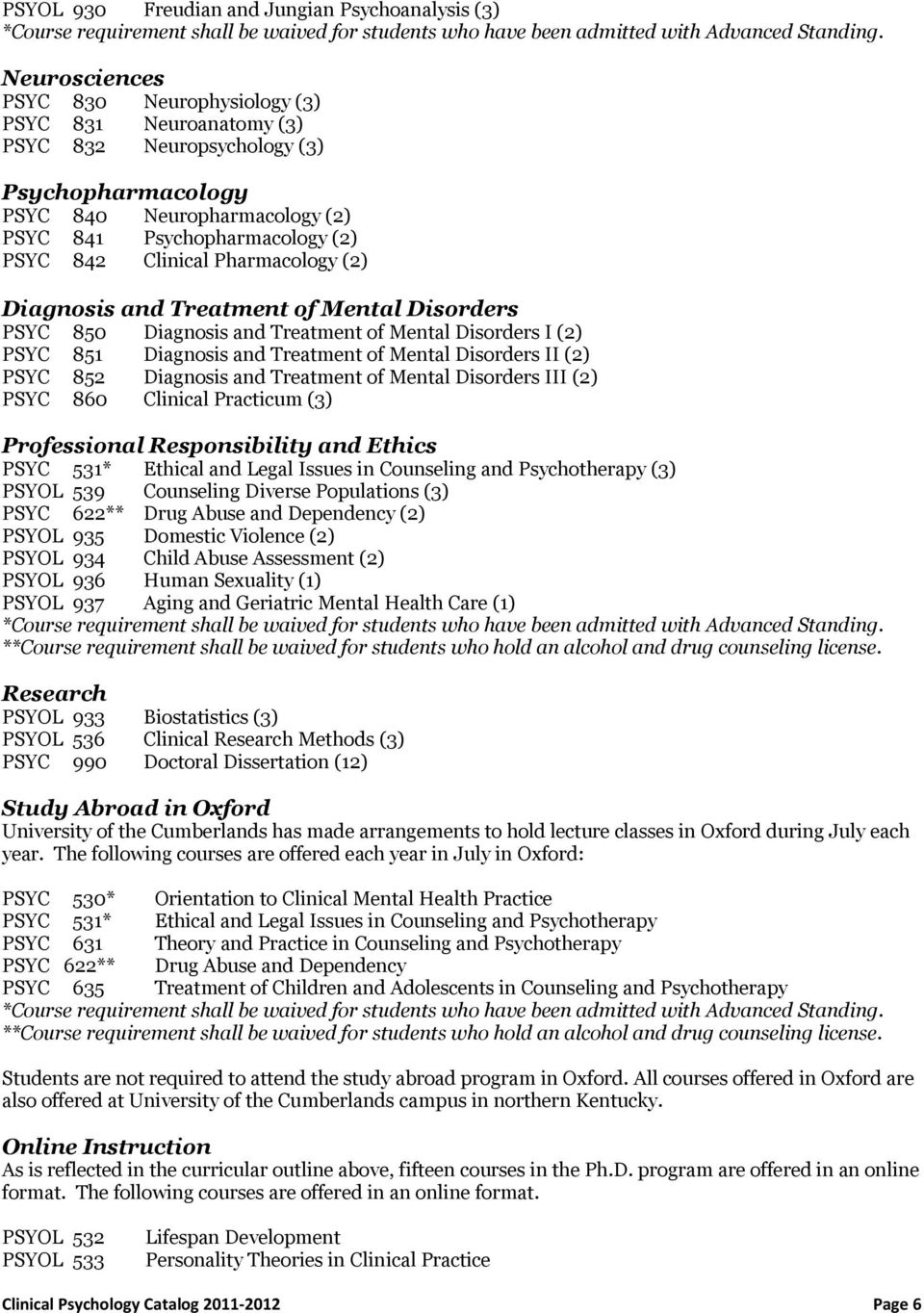 Pharmacology (2) Diagnosis and Treatment of Mental Disorders PSYC 850 Diagnosis and Treatment of Mental Disorders I (2) PSYC 851 Diagnosis and Treatment of Mental Disorders II (2) PSYC 852 Diagnosis