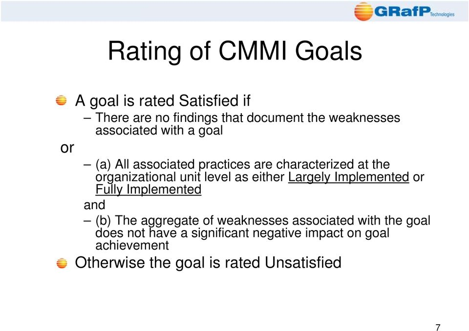 as either Largely Implemented or Fully Implemented and (b) The aggregate of weaknesses associated with