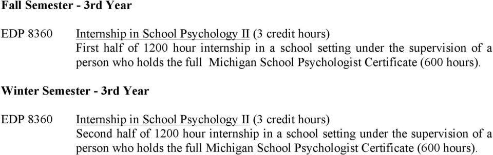 Winter Semester - 3rd Year EDP 8360 Internship in School Psychology II (3 credit hours) Second half of 1200 hour internship