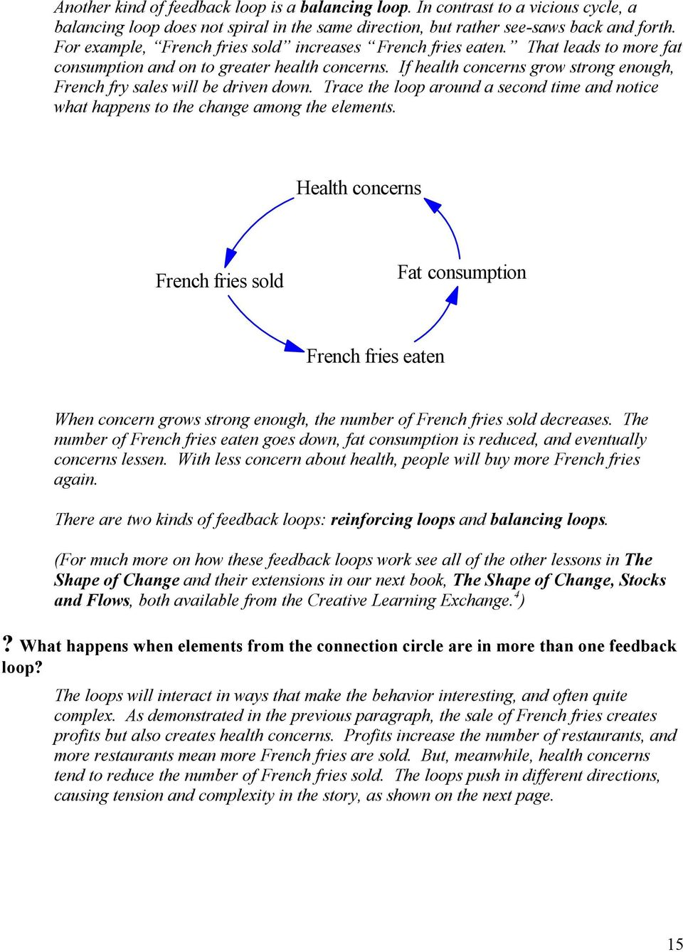 If health concerns grow strong enough, French fry sales will be driven down. Trace the loop around a second time and notice what happens to the change among the elements.