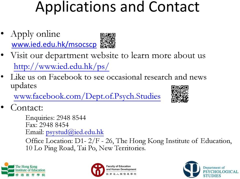 hk/ps/ Like us on Facebook to see occasional research and news updates www.facebook.com/dept.of.psych.