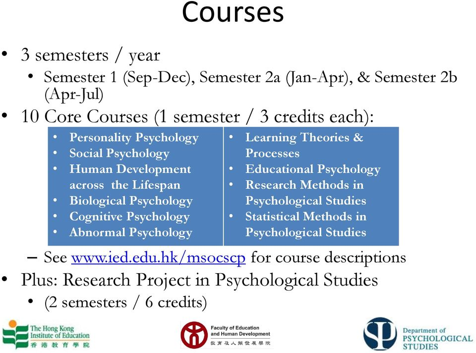 Psychology Learning Theories & Processes Educational Psychology Research Methods in Psychological Studies Statistical Methods in