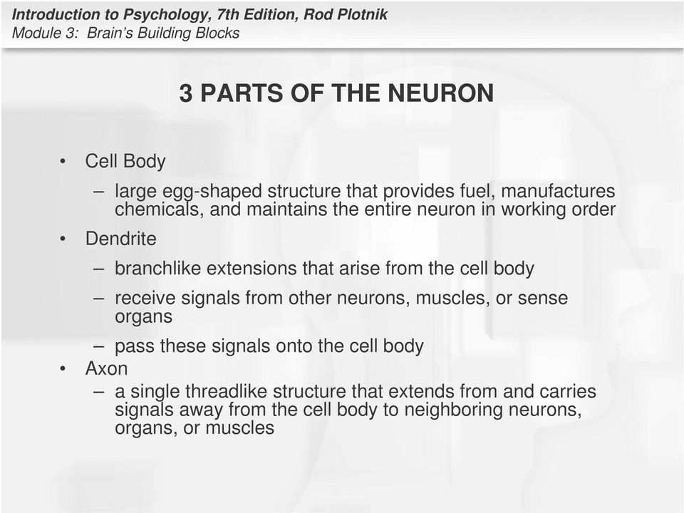 receive signals from other neurons, muscles, or sense organs pass these signals onto the cell body Axon a single