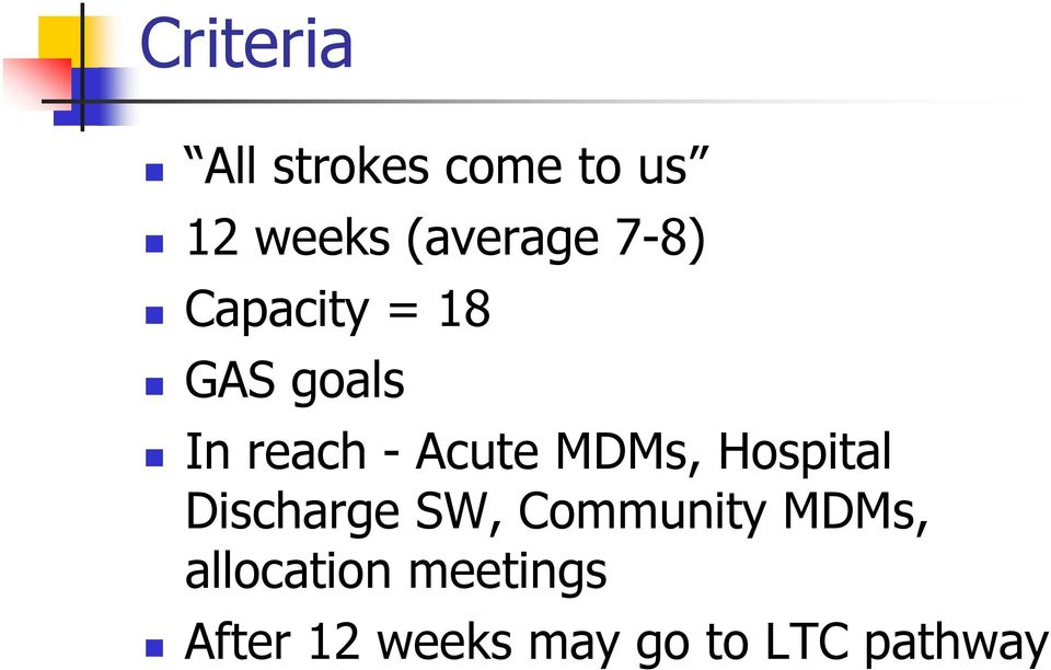 MDMs, Hospital Discharge SW, Community MDMs,