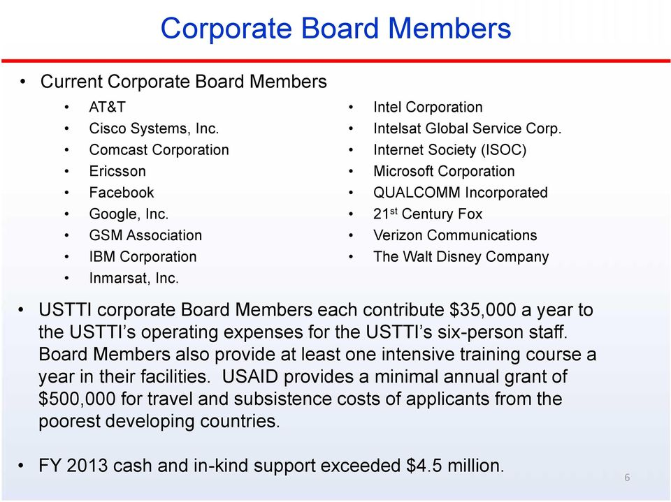 Internet Society (ISOC) Microsoft Corporation QUALCOMM Incorporated 21 st Century Fox Verizon Communications The Walt Disney Company USTTI corporate Board Members each contribute $35,000 a year