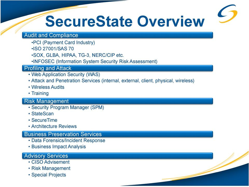 (internal, external, client, physical, wireless) Wireless Audits Training Risk Management Security Program Manager (SPM) StateScan SecureTime