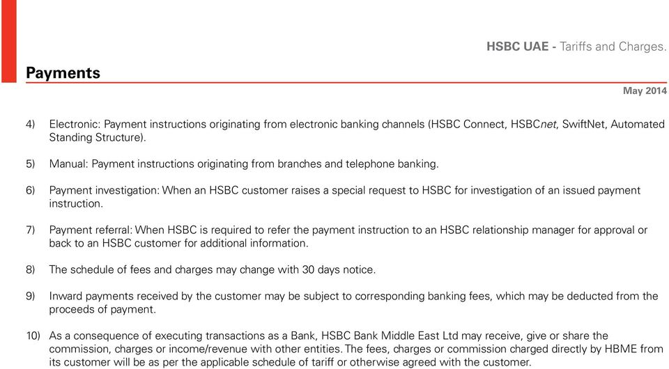 6) Payment investigation: When an HSBC customer raises a special request to HSBC for investigation of an issued payment instruction.