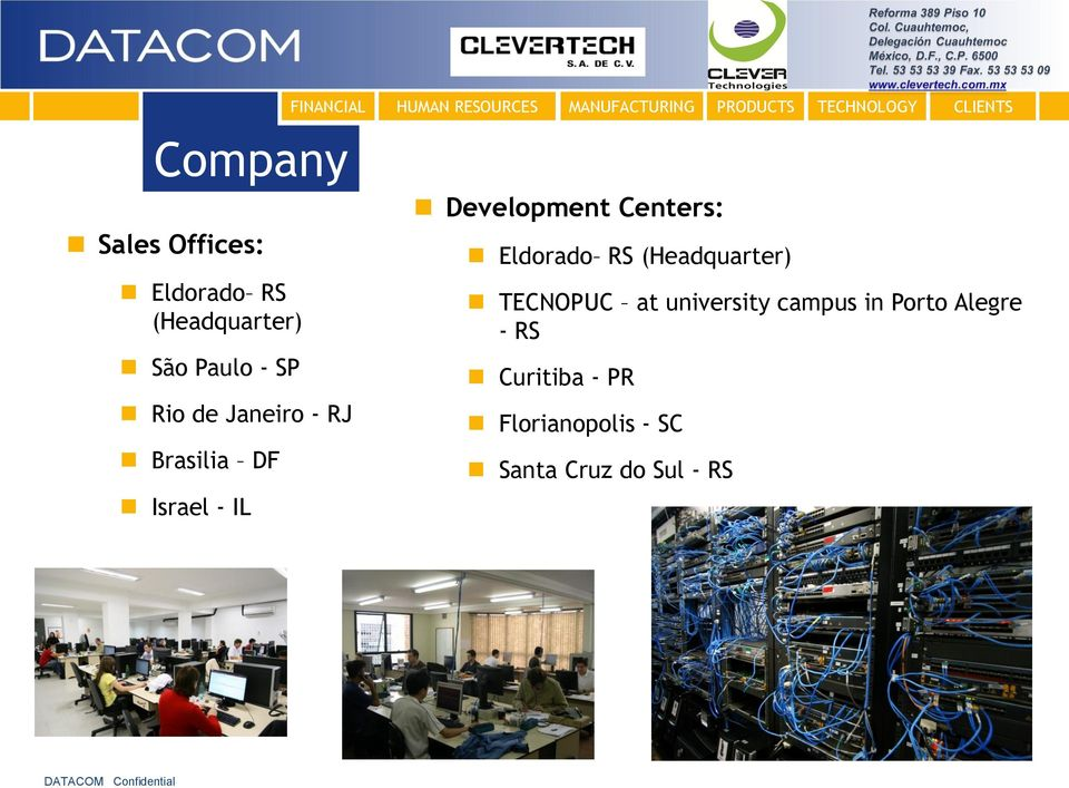 PRODUCTS Development Centers: Eldorado RS (Headquarter) TECNOPUC at