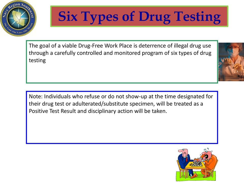 Individuals who refuse or do not show-up at the time designated for their drug test or