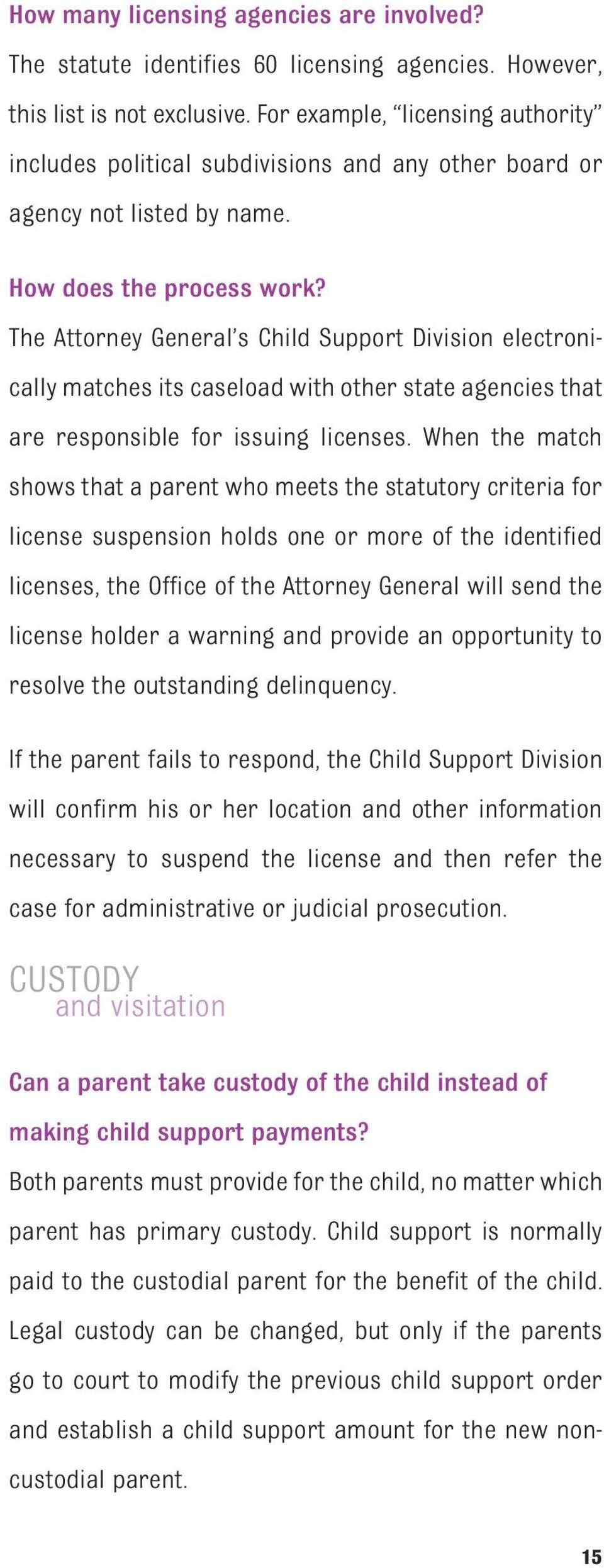 The Attorney General s Child Support Division electronically matches its caseload with other state agencies that are responsible for issuing licenses.