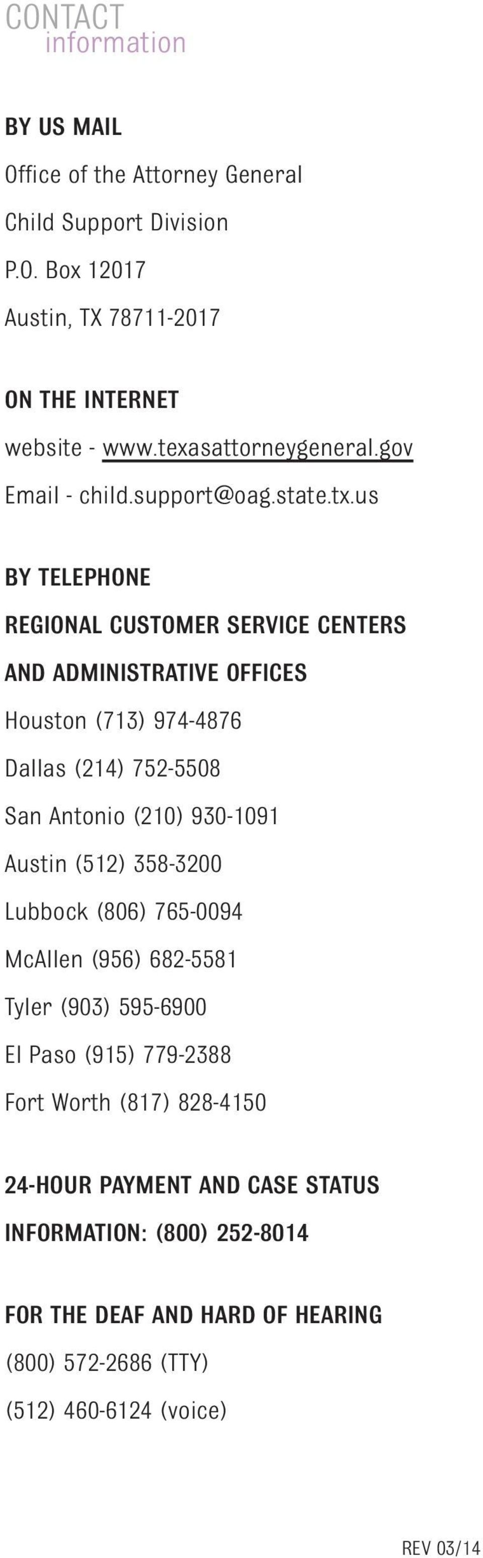 us BY TELEPHONE REGIONAL CUSTOMER SERVICE CENTERS AND ADMINISTRATIVE OFFICES Houston (713) 974-4876 Dallas (214) 752-5508 San Antonio (210) 930-1091 Austin (512)