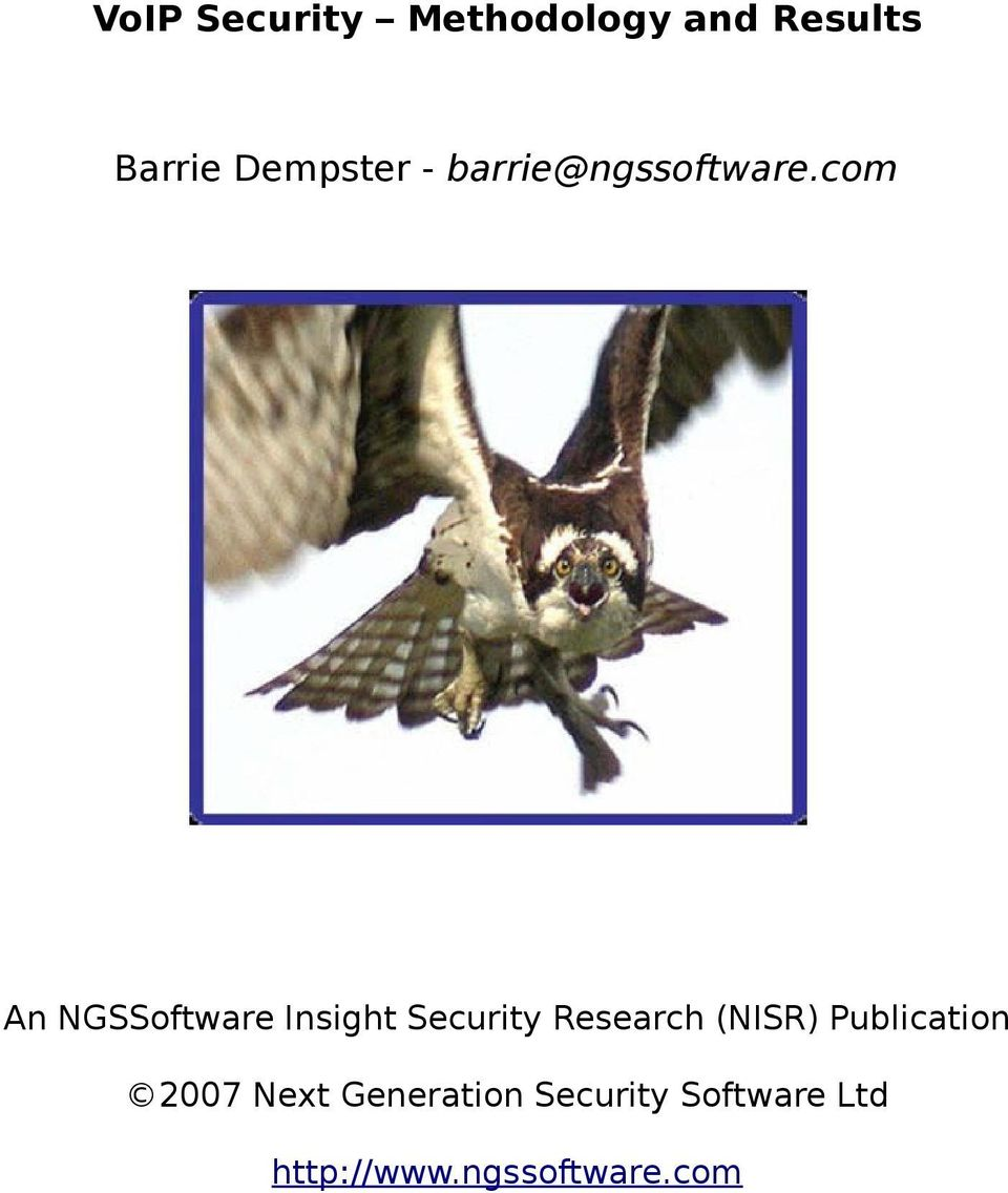 com An NGSSoftware Insight Security Research (NISR)