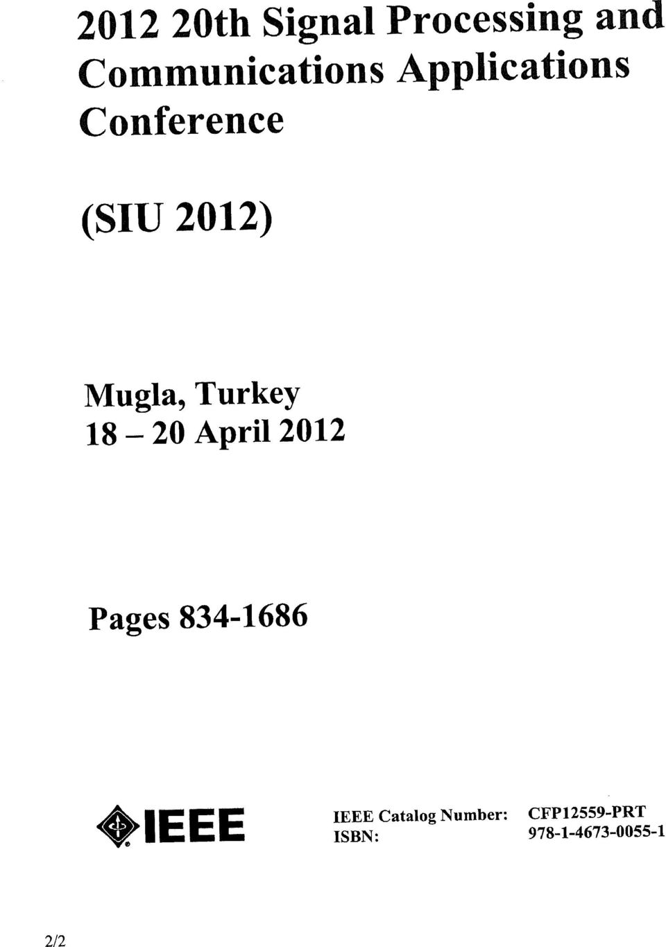 Turkey 20 April 2012 18 - Pages 834-1686 IEEE