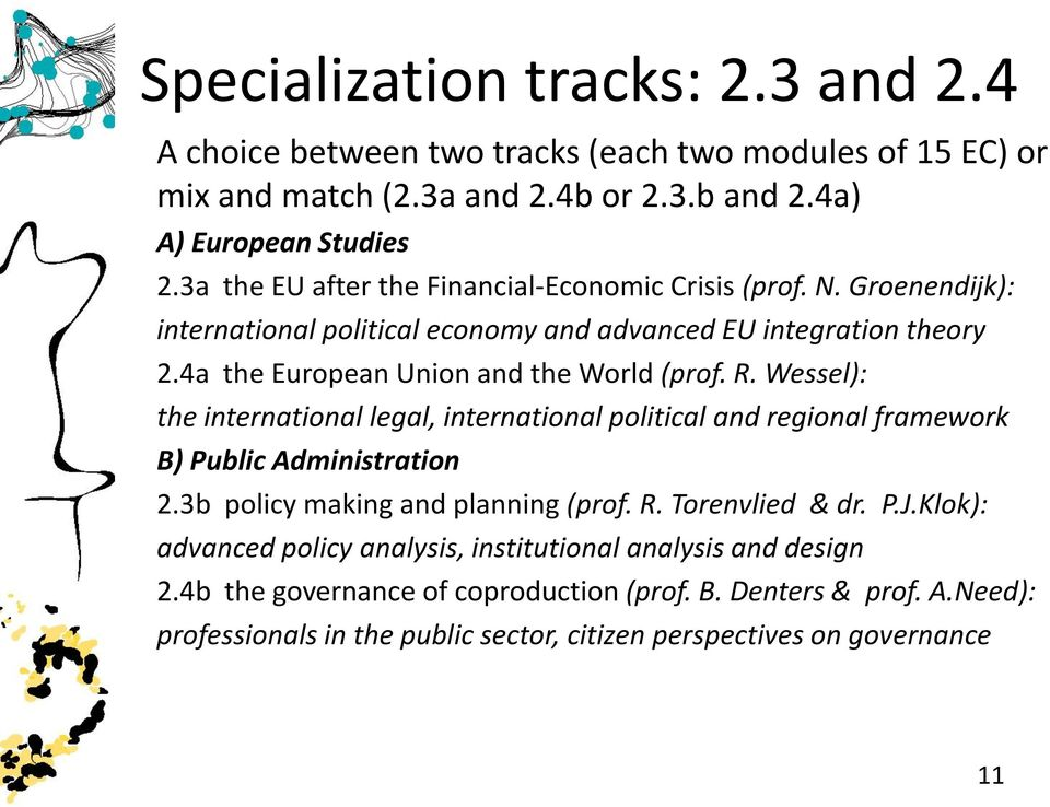 R. Wessel): the international legal, international political and regional framework B) Public Administration 2.3b policy making and planning (prof. R. Torenvlied & dr. P.J.