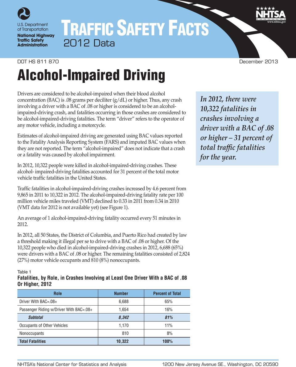 08 or higher is considered to be an alcoholimpaired-driving crash, and fatalities occurring in those crashes are considered to be alcohol-impaired-driving fatalities.