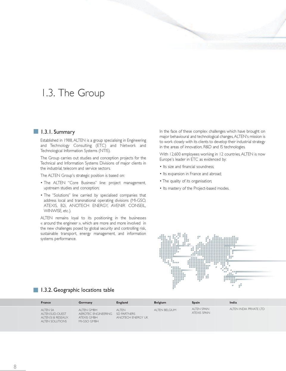 The ALTEN Group's strategic position is based on: The ALTEN Core Business line: project management, upstream studies and conception; The Solutions line carried by specialised companies that address