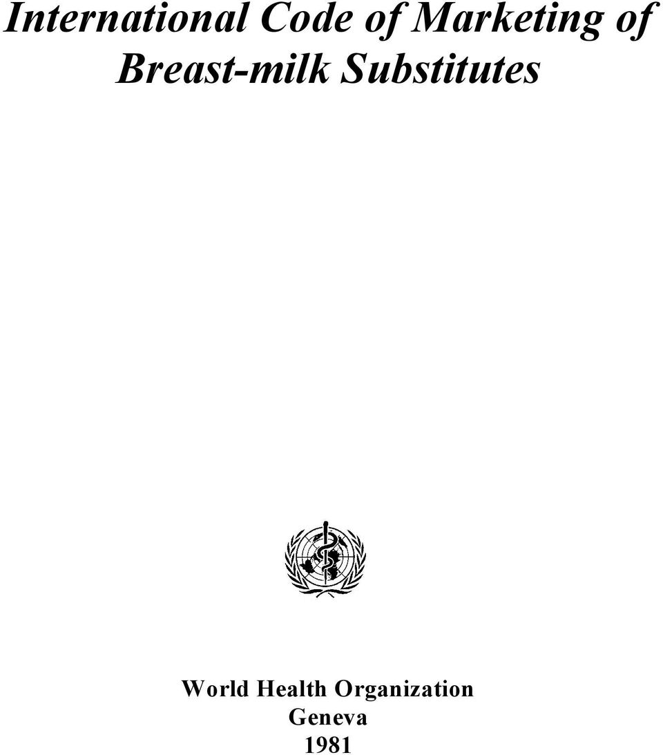 Breast-milk Substitutes