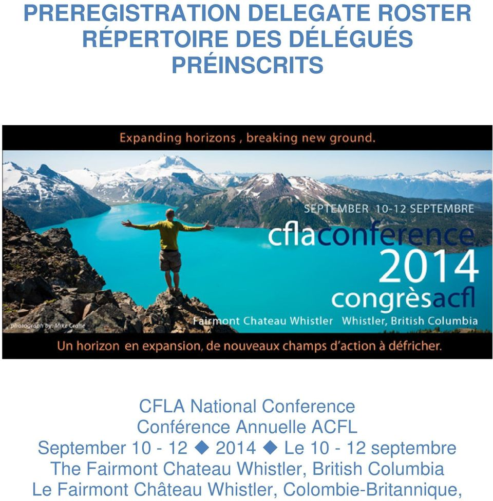 September 10-12 2014 Le 10-12 septembre The Fairmont Chateau