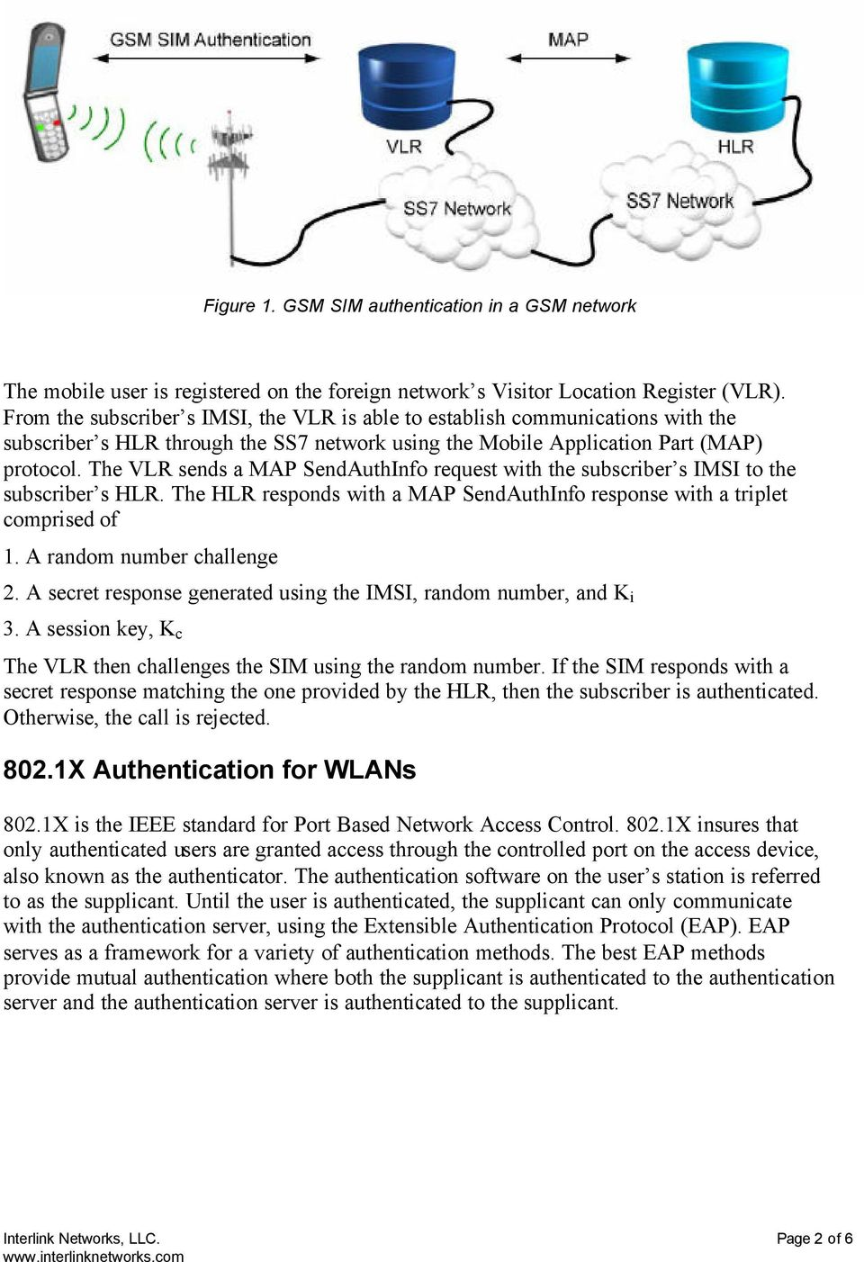 The VLR sends a MAP SendAuthInfo request with the subscriber s IMSI to the subscriber s HLR. The HLR responds with a MAP SendAuthInfo response with a triplet comprised of 1.
