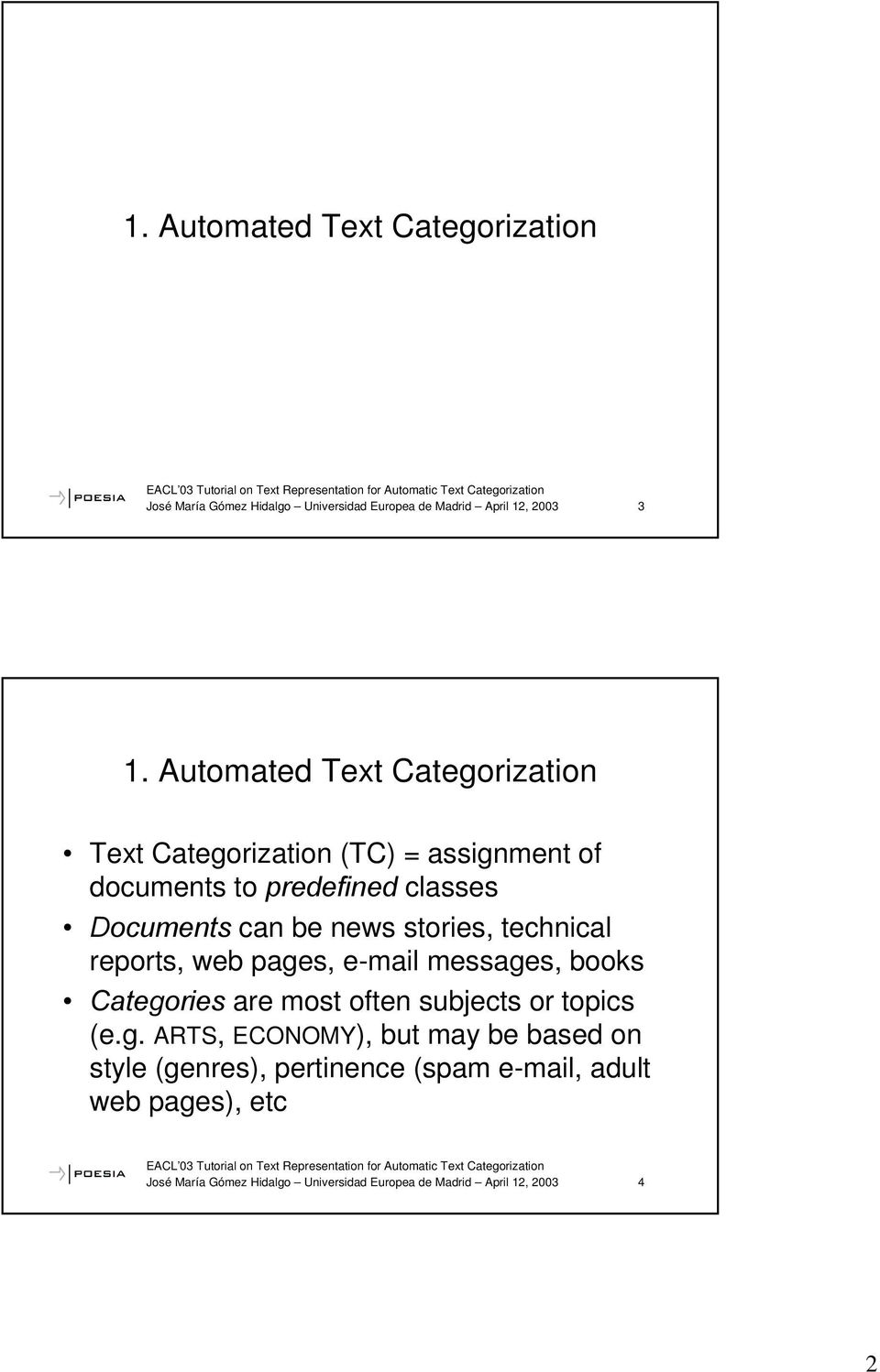 stories, technical reports, web page