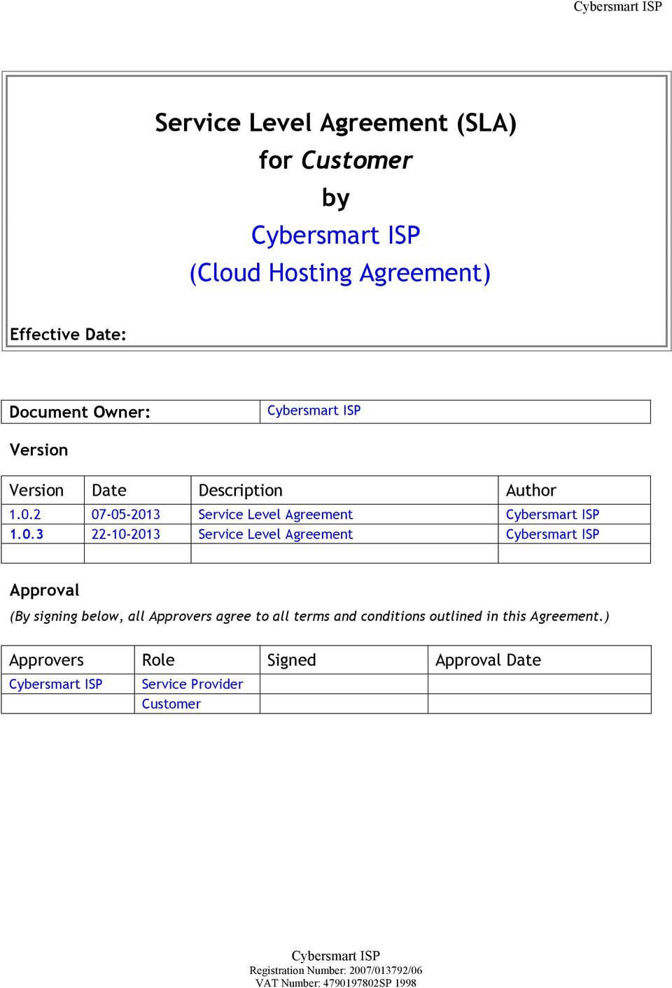 Service Level Agreement Sla For Customer By Cybersmart Isp