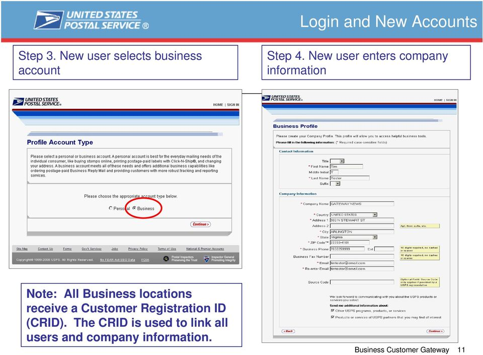 New user enters company information Note: All Business locations