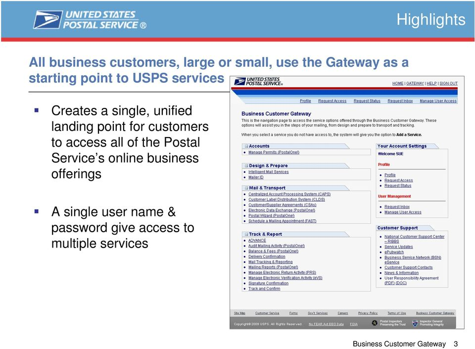 customers to access all of the Postal Service s online business offerings A