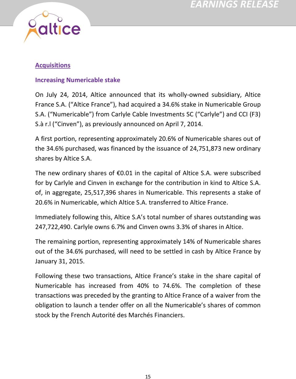 6% of Numericable shares out of the 34.6% purchased, was financed by the issuance of 24,751,873 new ordinary shares by Al