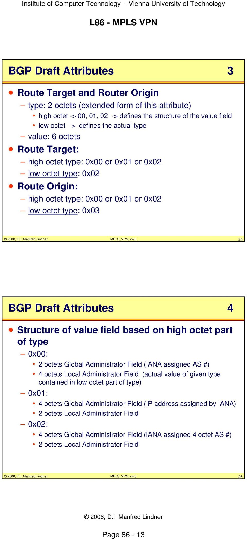 6 25 BGP Draft Attributes 4 Structure of value field based on high octet part of type 0x00: 2 octets Global Administrator Field (IANA assigned AS #) 4 octets Local Administrator Field (actual value