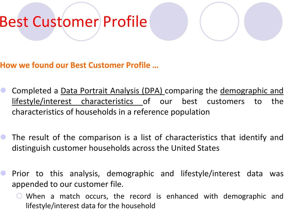 comparison is a list of characteristics that identify and distinguish customer households across the United States Prior to this analysis,