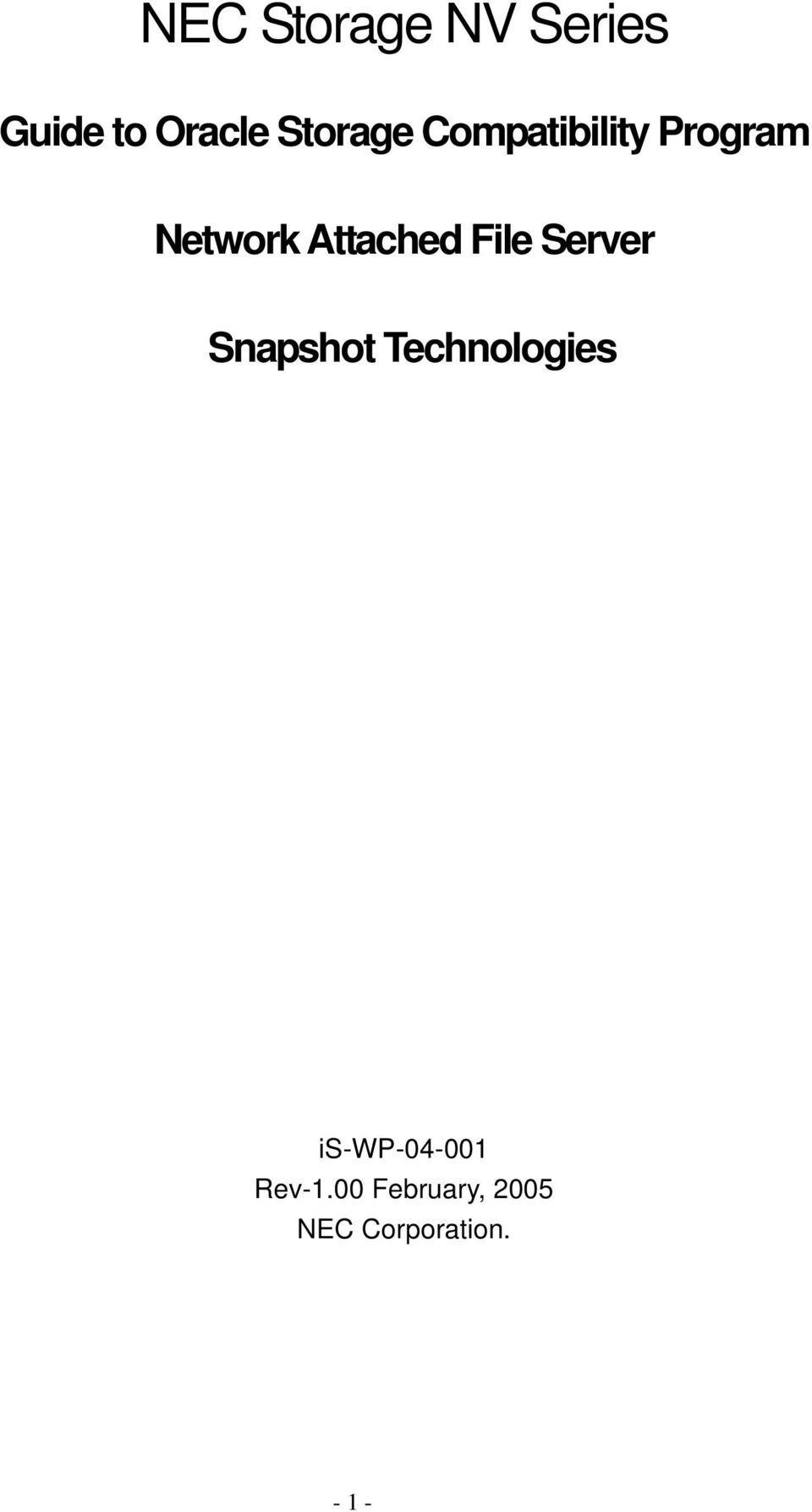 Attached File Server Snapshot Technologies