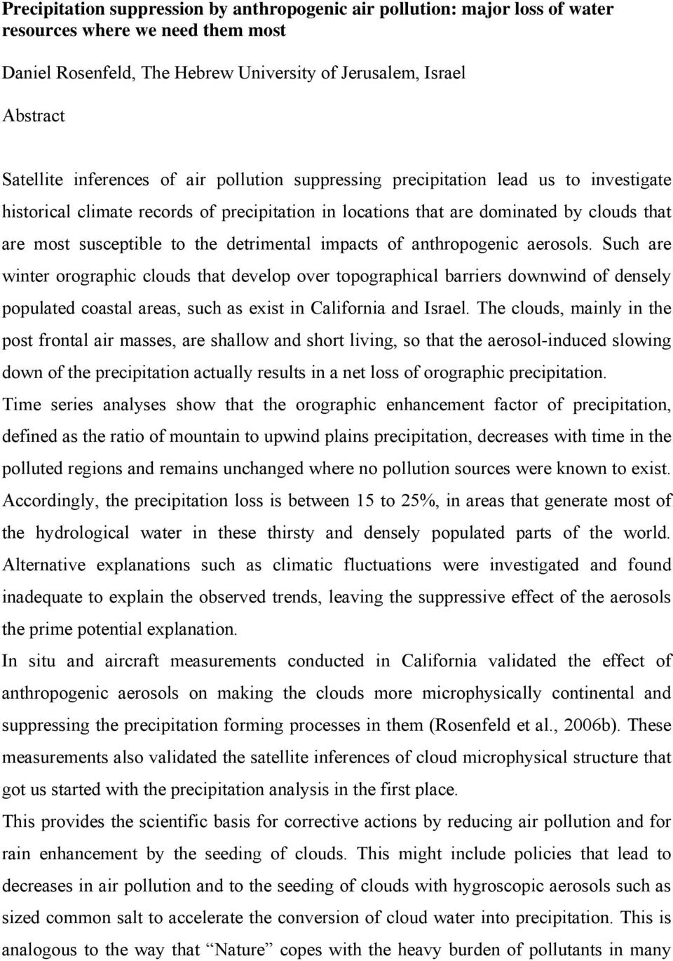 detrimental impacts of anthropogenic aerosols.